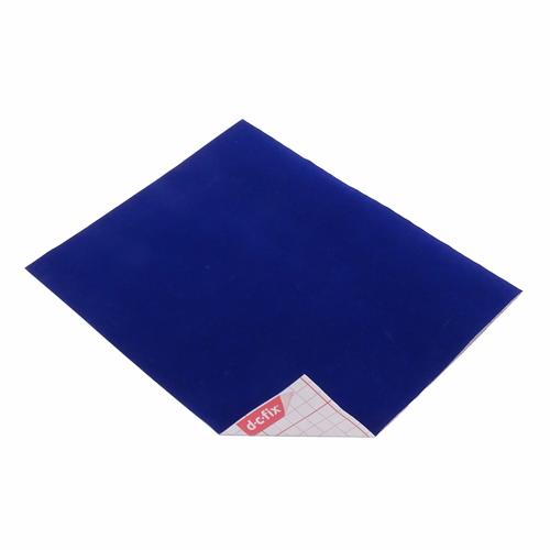 Coupon Velours Adhésif Bleu